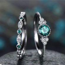 3 цвета стекируемые двойной кольца наборы для ухода за кожей для Для женщин 925 серебро круглый зеленый синий камень циркон Обручение женский камень кольцо