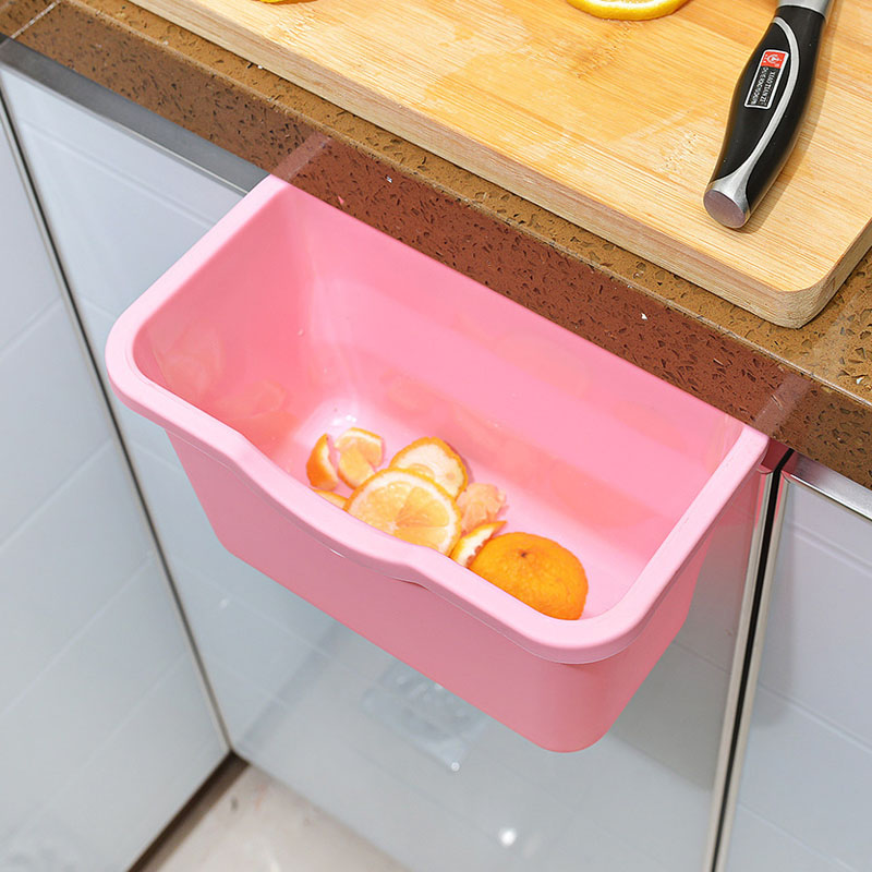 Hot Hanging Kitchen Waste Bin Hanged Cupboard Door ECO PP Simple Garbage  Bin Scrap Storage Box Free Shipping  35