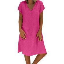 b5c60c5ca17 CHAMSGEND Dress 2019 New Women Summer Style Feminino Vestido T-shirt Cotton  Linen Casual Plus
