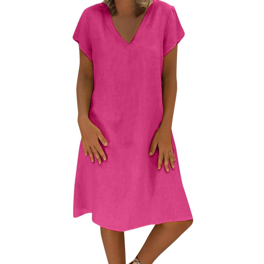 CHAMSGEND Kleid 2019 Neue Frauen Sommer Stil Feminino Vestido T-shirt Baumwolle Leinen Casual Plus Größe Damen Lose Kleider 6. JAN.13