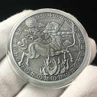 Twelve Constellations Antique Silver Embossed Cancer Commemorative Coin Love Mermaid Sun God Coin Home Decoration Accessories