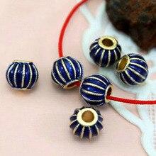 TJP 10pcs Gold Enamel Blue Lantern Pumpkin Spacers Beads for Bracelets Necklaces DIY Jewelry Making Findings 9mm