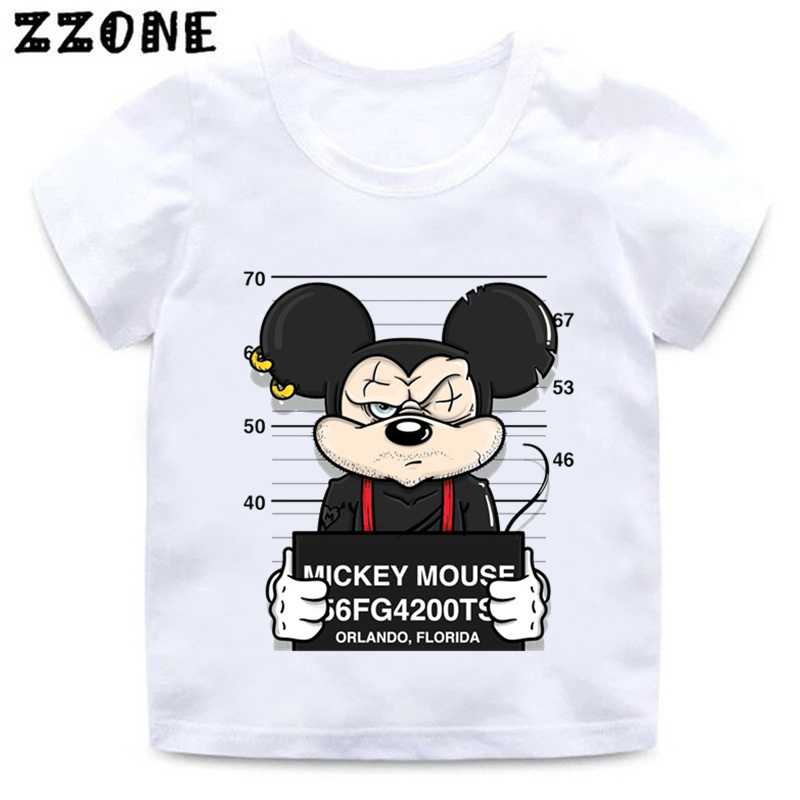 Boys and Girls Cartoon Bad Dog Mouse Duck Print T shirt Baby Funny White T-shirt Kids Summer Casual Clothes,HKP2436
