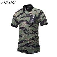 AHKUCI 새로운 남성 군사 항공 폴로 셔츠 3D 인쇄 폴로 셔츠 코튼 두개골 패턴 짧은 소매 셔츠 브랜드 의류