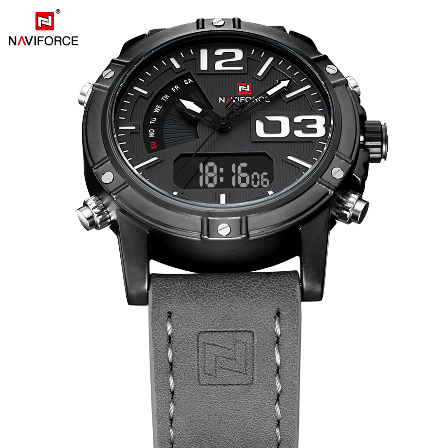 NAVIFORCE Dual Display Men Watches Sport Military Man Quartz Analog Watch Digital Auto Date Display Male Clock Relogio Masculino weide brand irregular man sport watches water resistance quartz analog digital display stainless steel running watches for men