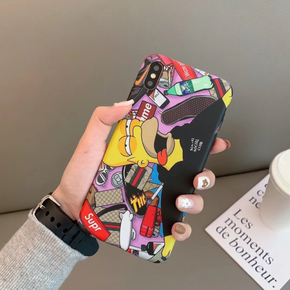 KAIEN fashion cartoon Tide brand Bart Sinpson funny soft cover for Apple Mobile phone case for iPhone 6 6s 7 8 plus X XR XS MAX
