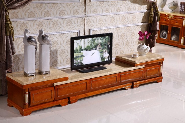 European Retro Wooden Tv Stand Storage Drawer Marble Top Made In