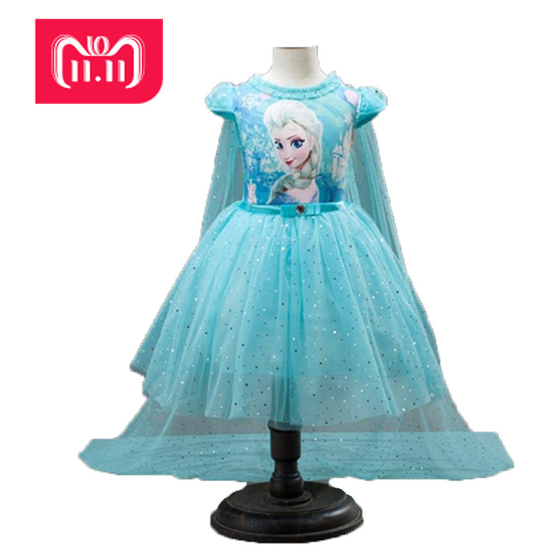 3-10 yearsold Children's Kids Summer Cosplay Costumes+Cape Girl Dress Lace Princess Elsa Dress Snow Queen Dresses For Party Gir олимпийка мужская puma ferrari t7 track jacket цвет черный 57345511 размер xl 50 52