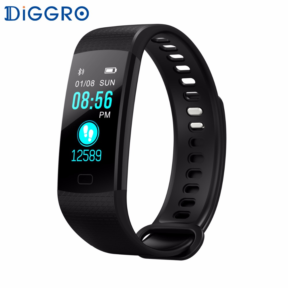 Diggro DB07 Smart Bracelet HD Color Screen Heart Rate Monitor Blood Pressure Oxygen Monitor FitnessTracker Wristband for Phone