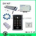 F007 standalone ID de control de acceso del sistema de puerta individual + 350 libras 180 KG cerradura magnética + fuente de alimentación + botón de salida + ID llave/tarjeta