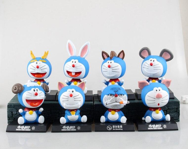 Free Shipping Cute 5 Anime Doraemon cos Animal Boxed 12cm Bobble Head Shaking Head Toy Model Car Decoration PVC Figure Doll