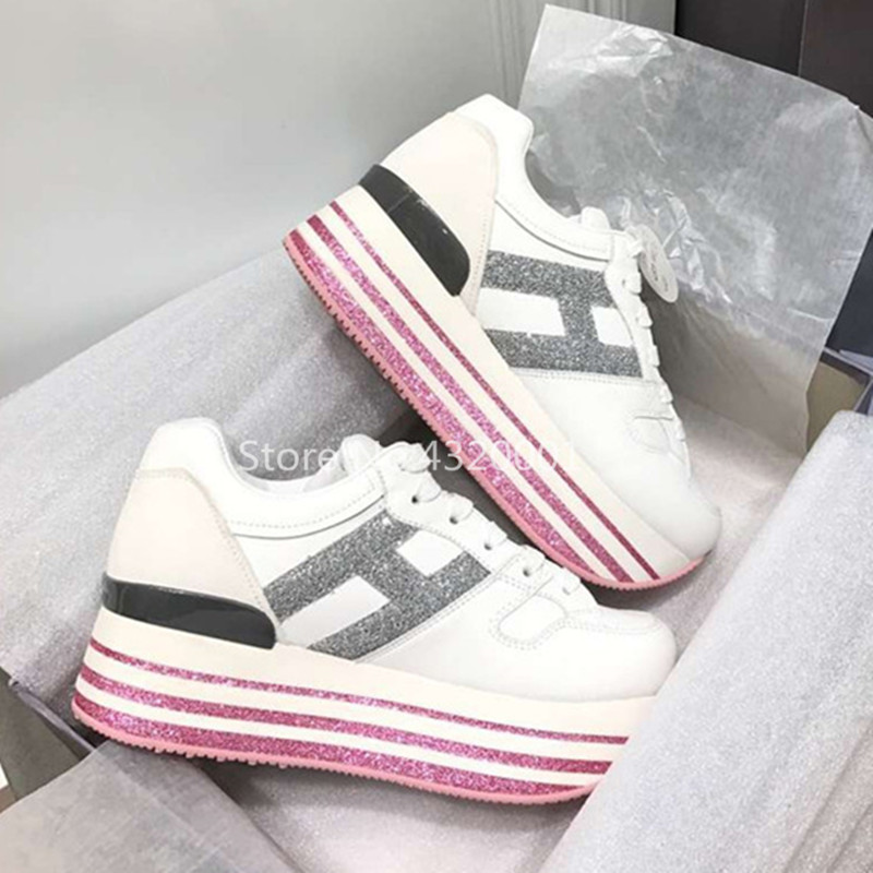 Paillettes rose rayures étendues semelles plates-formes à lacets femmes chaussures H baskets femmes en cuir véritable et daim chaussures décontractées