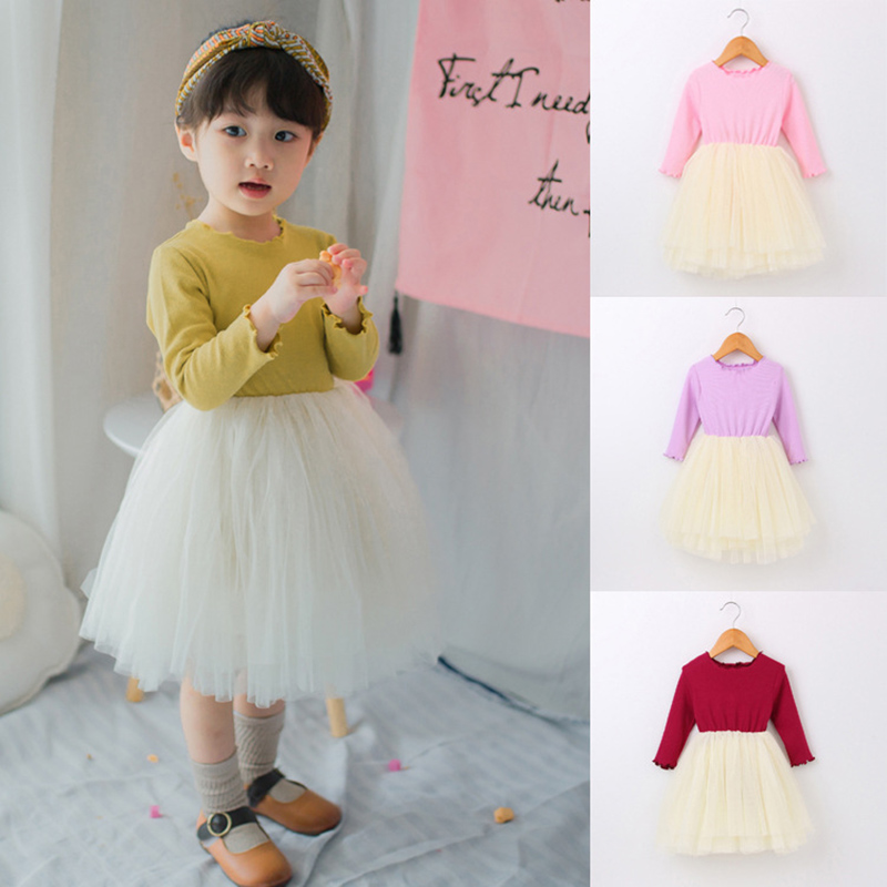 Spring Autumn children baby christening girl princess gowns birthday dress little bebe kid clothes first 1 year to 4 year party baby girl birthday princess dress spring