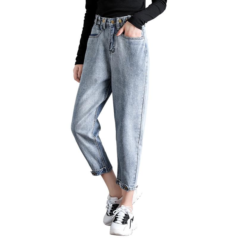 Vaqueros Algodón Jeans Vaquera Pengpious Tamaño Mujeres Moda Retro Lavado Desgastado Denim Del Pantalones qtwvp5w