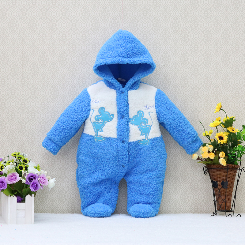 2017 Winter coral fleece Thick Baby Girls One Piece Romper Long Sleeve Hoodie Button Boys Sleeper Toddler Clothes paul frank baby boys supper julius fleece hoodie