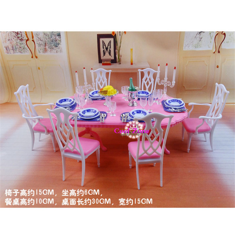 Miniature Furniture My Fancy Life Dining Room 2 For Barbie Doll House Toys Free Shipping In Dolls Accessories From Hobbies On Aliexpress