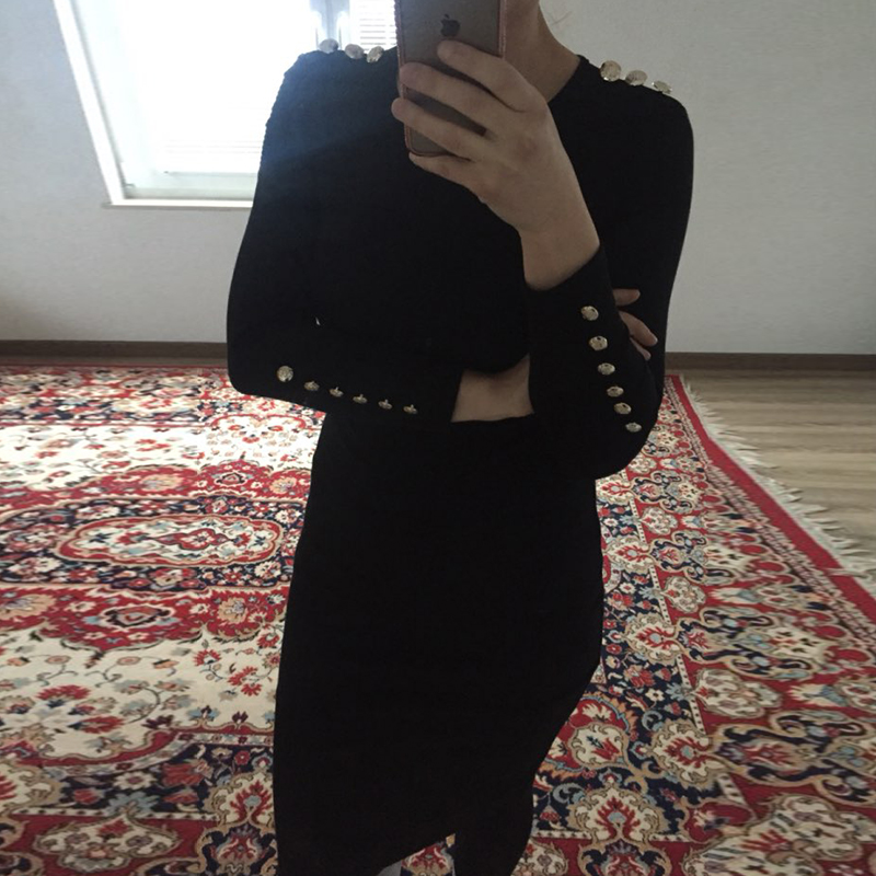 2017 fashion party dress kobiety sexy płaszcza bodycon midi dress stałe z długim rękawem z dzianiny pakiet hip dress vestidos s-xl lj7338e 18