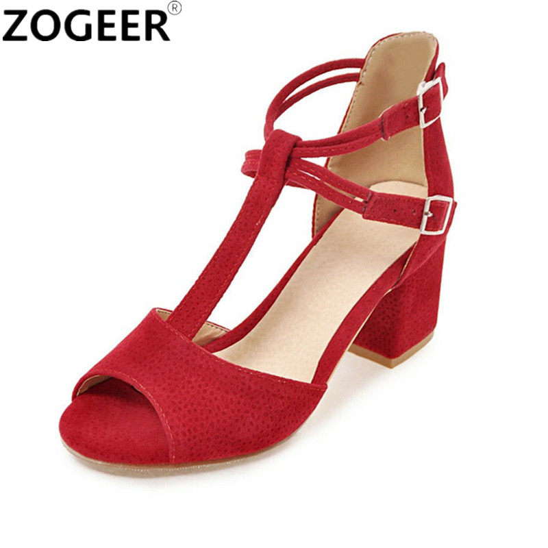 New 2018 Summer Women Sandals Gladiator Shoes for Women Thick High Heel Sandals Open toe T Straps Wedding Shoes Pink Red Black new summer women sandals open toe women s sandles thick heel women shoes korean style gladiator shoes