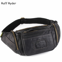 Ruff Ryder 2017 New Vintage High Quality Genuine Leather Waist Bag Cowhide Waist Pack Bag Money Belt Waist Phone Pouch Men Bags