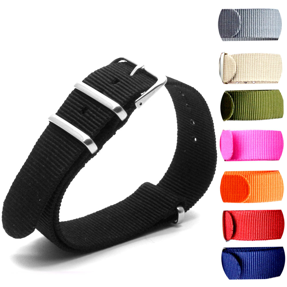 1pcs 18 20 22 24mm Multiple Colors Nato Nylon Military Watch Strap Army Sport Watchband new high quality watchband 24mm nato multicolor 4 ring nylon military diver s watch strap