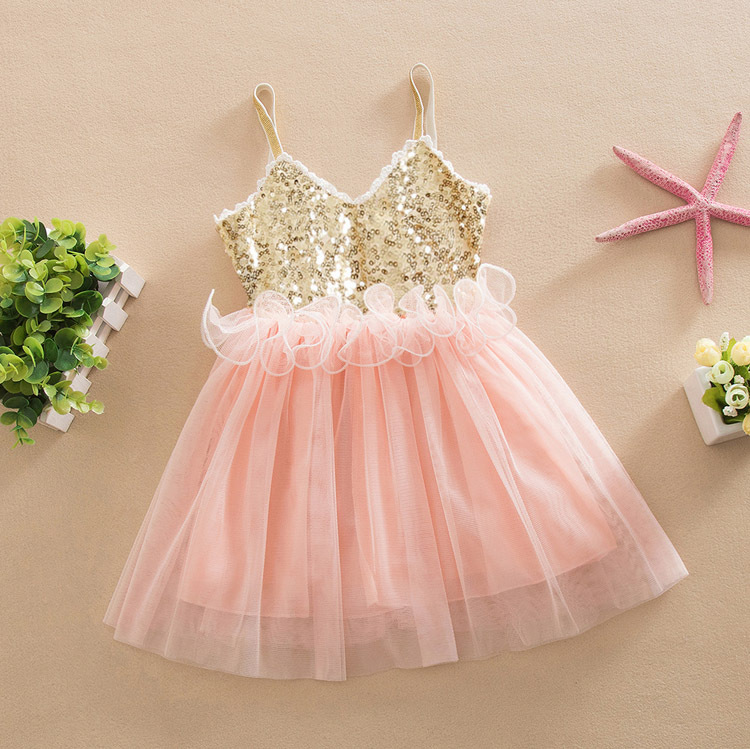 f0fab799ce US $14.55 9% OFF|high quality toddler Girls party dress, pink/gold bling  bling tutu dress, 2 8y kids summer clothes-in Dresses from Mother & Kids on  ...
