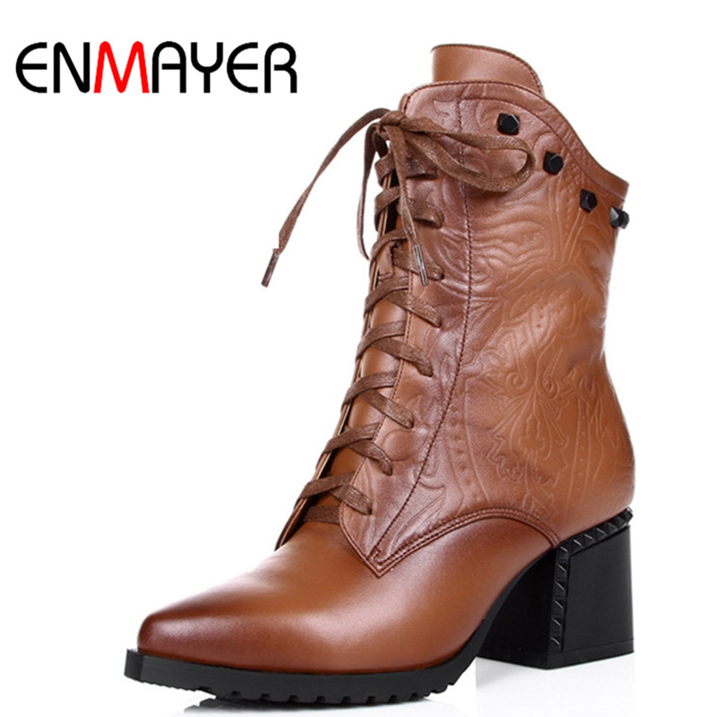 ENMAYE Winter Shoes Women 2018 New Women Boots Size Lace Up Pointed Toe Fashion Genuine Leather Ankle Boots Square Heels Brown odetina 2017 new fashion genuine leather women platform flat ankle boots lace up casual booties autumn winter shoes big size 43