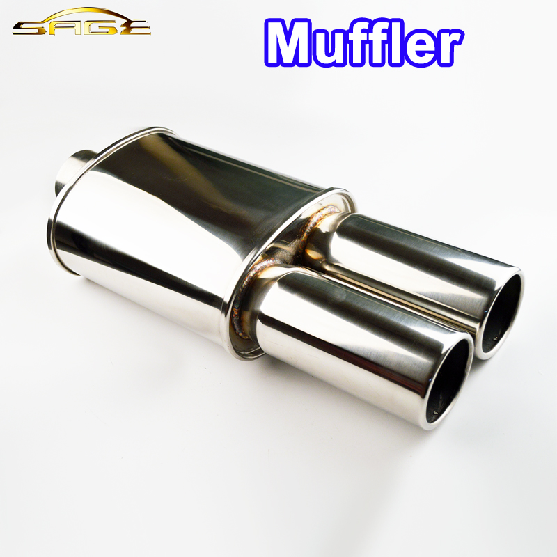 SALBEITECH Auto Exhaust Muffler Body Length 10 Inlet 2.5/3 Outlet 3/3.5 Car Tail Pipe