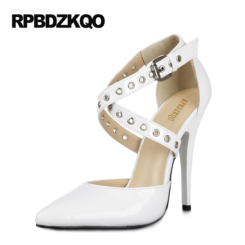 Dress Shoes Women White 11 43 Plus Size Red Pumps 12cm 5 Inch Fetish Stiletto Patent Leather Crossdresser Cross Strap High Heels plus size asymmetric hem spaghetti strap dress