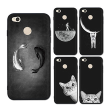 3D Relief Phone Cases for Xiaomi Redmi 4X Soft Ultra Thin TPU Silicone Cute Cats Fishes Moon Space For Cover