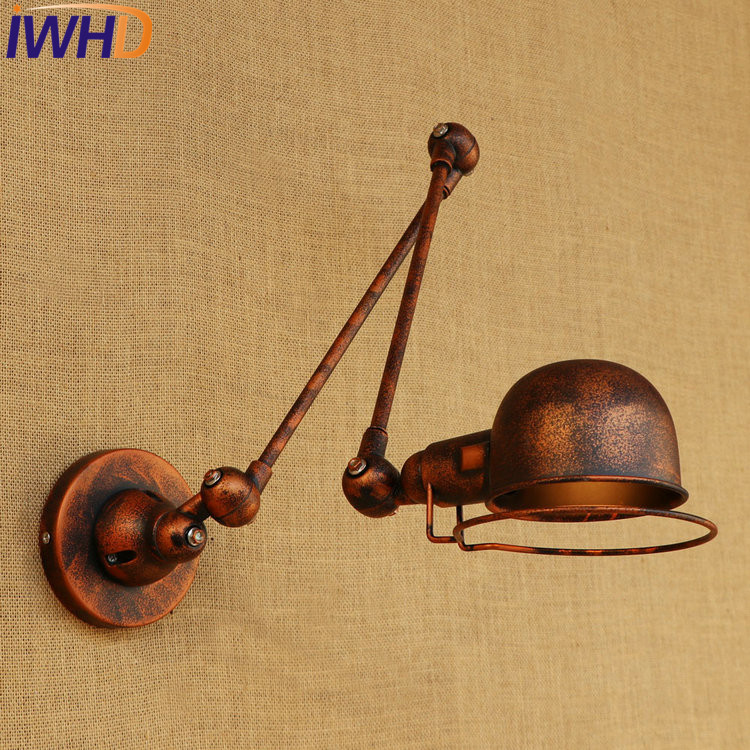 IWHD Loft Style Double Swing Arm LED Wall Sconce Iron Bedside Wall Lamp Industrial Vintage Wall Light Fixtures Indoor Lighting iwhd loft style edison wall sconce bedside lamp long arm industrial vintage wall light fixtures indoor lighting lamparas