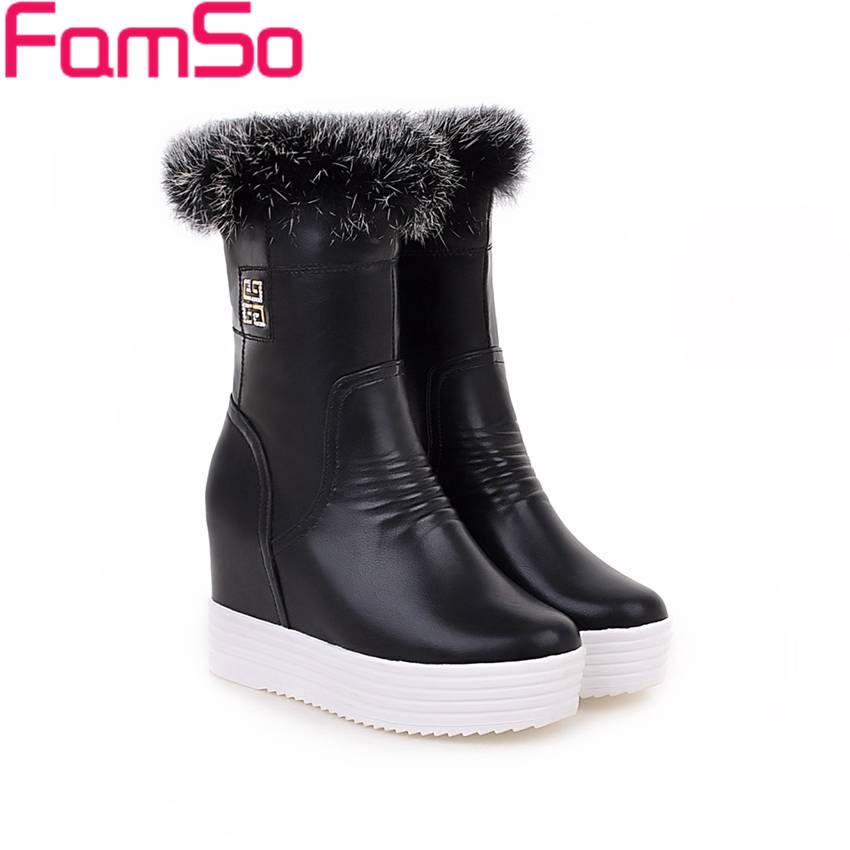 Free shipping 2016 new Arrival font b Women s b font Boots Black White Wedges Russia