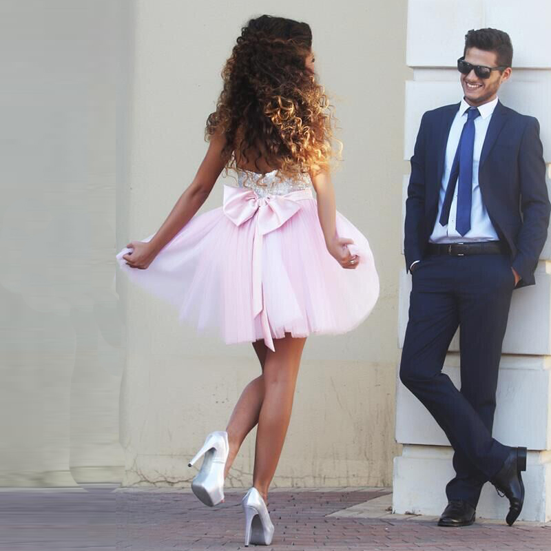 Fast Shipping Sweetheart Sequins A Line Pink Short Prom Dresses
