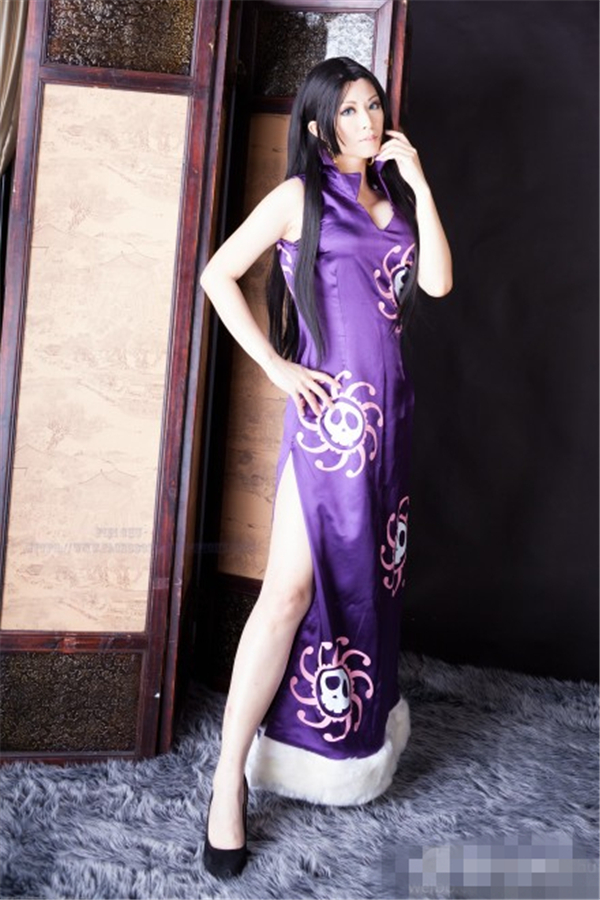 ONEPIECE!Boa Hancock the Pirate Queen Cosplay Costume Purple Dress Long Cheongsam Sexy W
