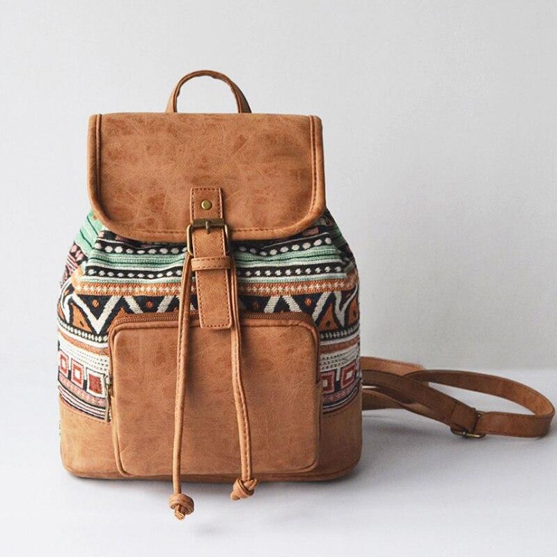 купить Women Canvas Backpacks New 2018 Preppy Bag Vintage Printing PU Leather Bagpack Sac a Dos Rucksack For Girls Travel Fashion Bag по цене 1450.08 рублей
