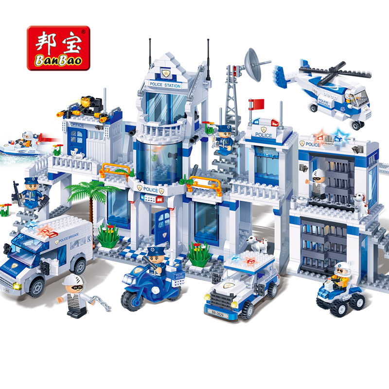 BanBao Police Station Helicopter Bricks Educational Building Blocks Model Toys 8353 For Children Kids compatible With