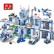 BanBao city series Police Station Helicopter cars Bricks Educational Building Blocks Model Toys 8353 For Children kids gifts