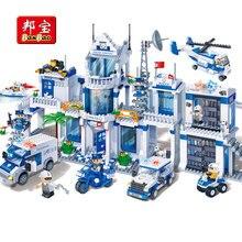 BanBao serie policial de Ciudad para niños, helicóptero, coches, bloques de construcción educativos, modelo, juguetes 8353