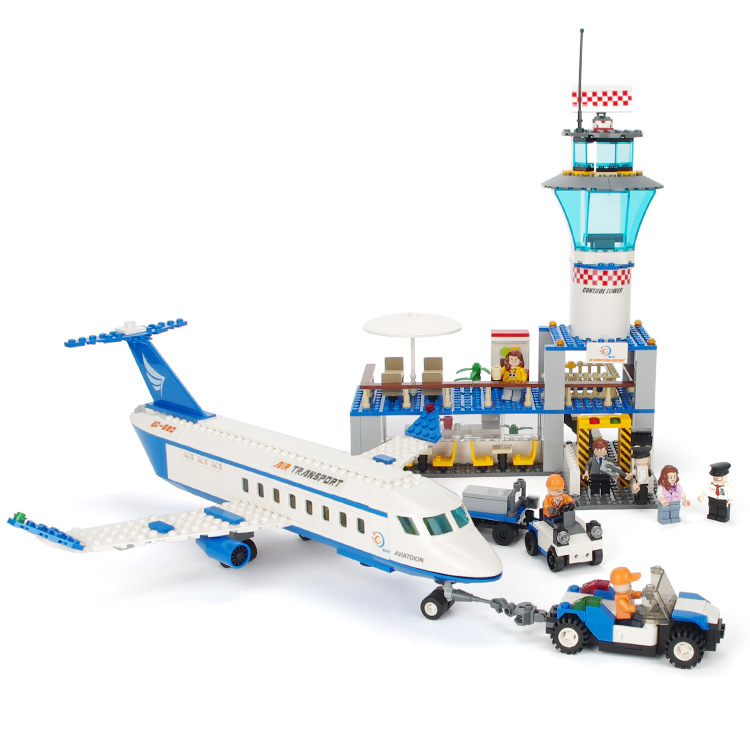 GUDI City International Airport  Aviation Aircraft Building Blocks Sets Bricks Model Kids Toys For Children Compatible Legoe 335pcs 0370 sluban figures aviation city aircraft medical air ambulance model building kits blocks bricks toys for children gift