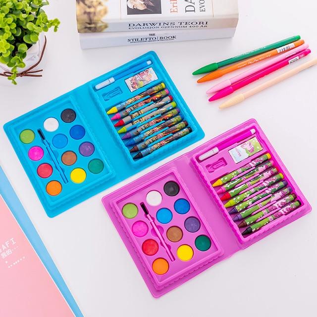 24 piezas/lote de juguetes de pintura juego de crayones y bolígrafos de acuarela combinación de regalo para aprendizaje y dibujo de niños con mamá/papá
