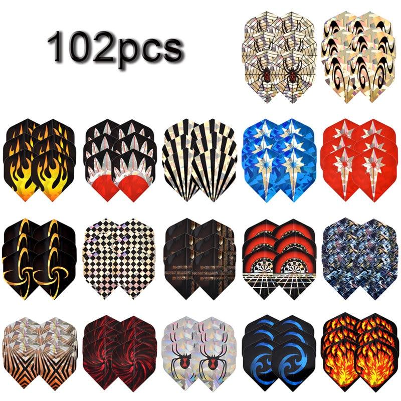 17 Sets 102Pcs Cool Mixed Pattern Standard Dart Flights Nice Darts Flight Outdoor Wing Tail