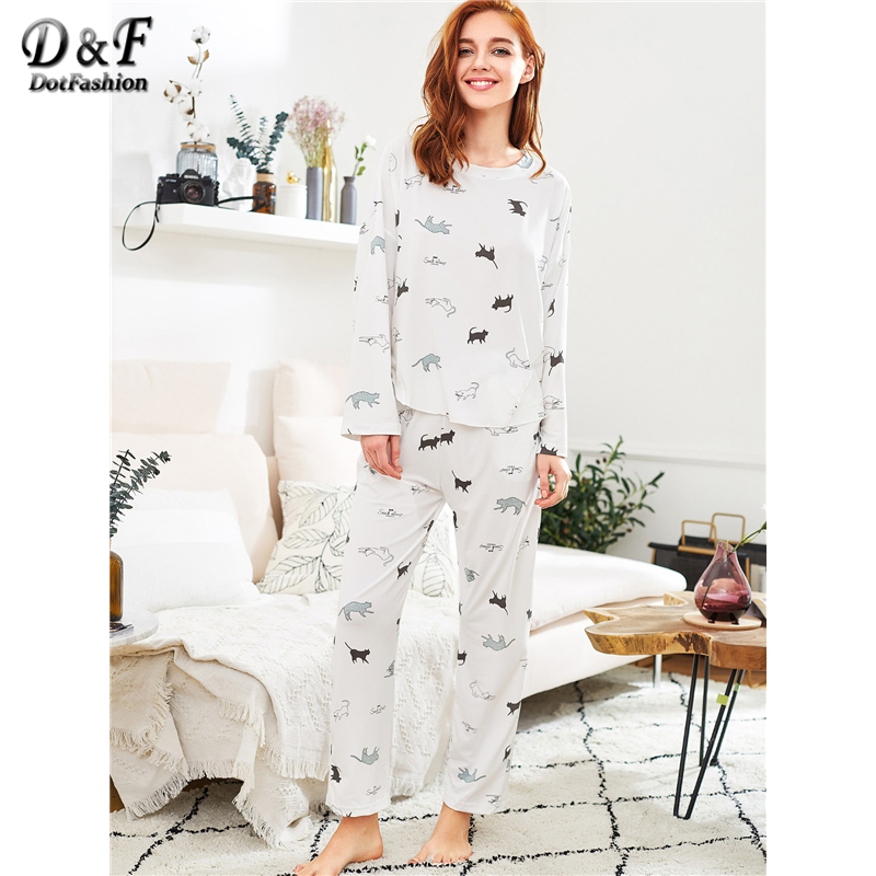 Dotfashion Cat Print Long   Pajama     Set   2019 New Spring White Round Neck Cartoon Women Suits Long Sleeve Cute   Pajama     Set
