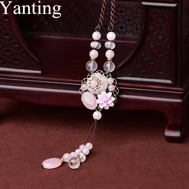 Yanting Natural Powder Crystal Pendant Necklace For Women Means Beauty And Love Ethnic Handmade Necklace Sweater Chain 0117