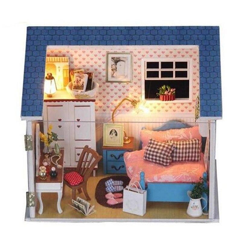 diy wood dollhouse furniture miniatures dolls houses handmade model building kitsbedroom miniatura building doll furniture