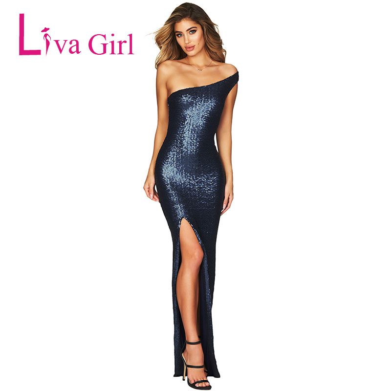 f70f9502f89 Detail Feedback Questions about LIVA GIRL Sexy One Shoulder High Split Sequined  Party Maxi Dress Women Evening Goddess Elegant Long Dresses Vestidos De ...