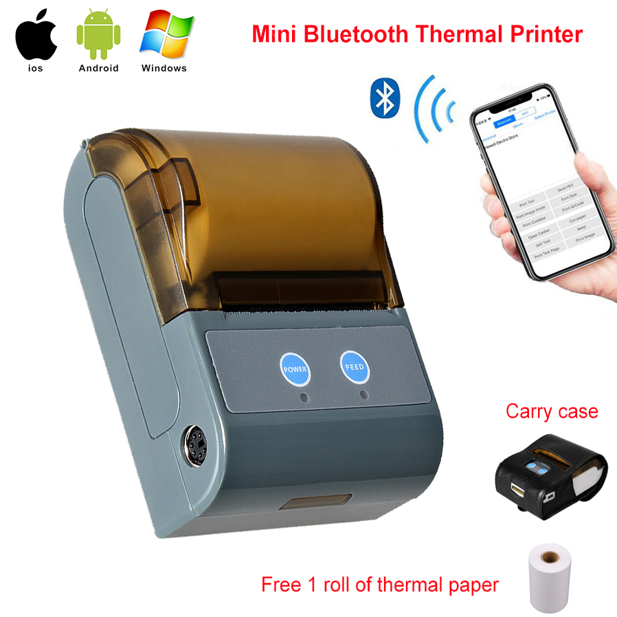 цена RUGLINE 58MM Bluetooth Thermal Printer Portable Wireless Receipt Machine for Windows Android iOS онлайн в 2017 году