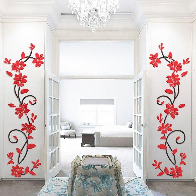3d Flower Vine Acrylic Mirror Wall Stickers Decoration Tv