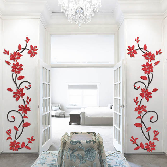 bea7139f4 Online Shop 3D Flower Vine Acrylic Mirror Wall Stickers Decoration TV  Background Art Wall DIY Wall Decals Duvar Sticker Room