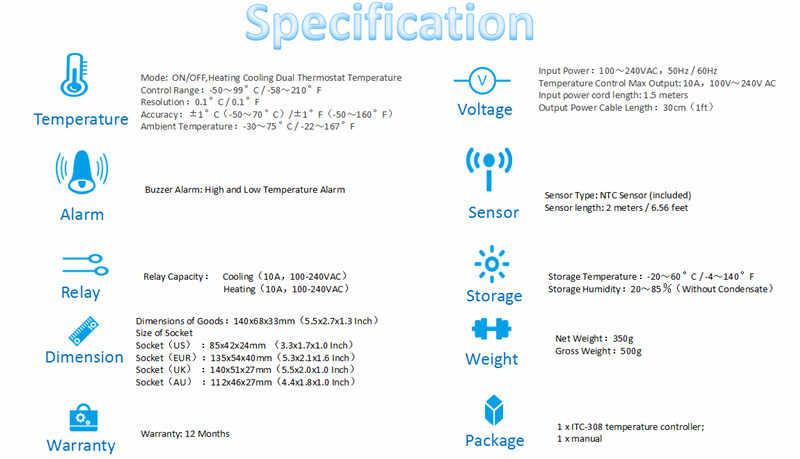 Inkbird ITC-308 eu バージョンデジタル家電孵化加熱冷却デュアルサーモスタット温度アラーム controllerller