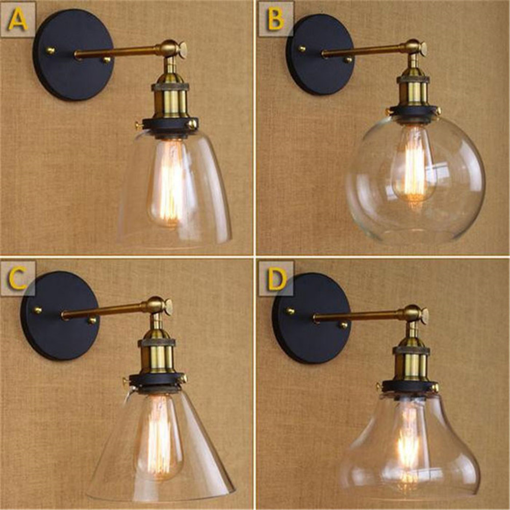 Loft Vintage Industrial Edison Wall lamps Clear Glass Wall Sconce Warehouse Wall Light Fixtures E27 110V/220V Bedside Lighting wholesale price loft vintage industrial edison wall lamps clear glass lampshade antique copper wall lights 110v 220v for bedroom page 3