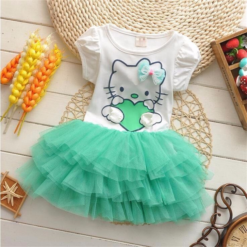 2b9c44e74bae3 US $7.19 28% OFF|BibiCola 2018 summer baby girls hello kitty dresses bow  princess lace dress lovely baby girl clothes Mini Tutu Dress Summer-in ...